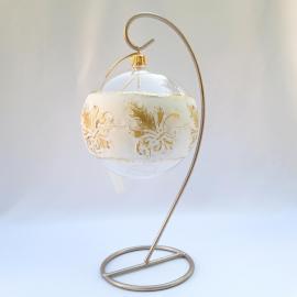 """Glob sticlă bandă albă """"Floare de crin"""""""