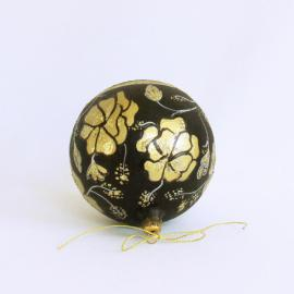 Glob sticlă 10 cm pictat negru cu auriu