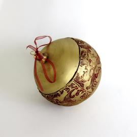 Glob Crăciun grena auriu, sticlă 10 cm