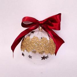 Glob Crăciun sticlă cu dantelă, 10 cm