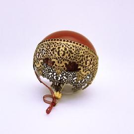 """Glob Crăciun roșu auriu """"Golden Tours"""" 10 cm"""