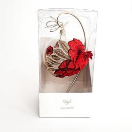 Glob sticlă 10 cm aplicație dantelă roșie stativ