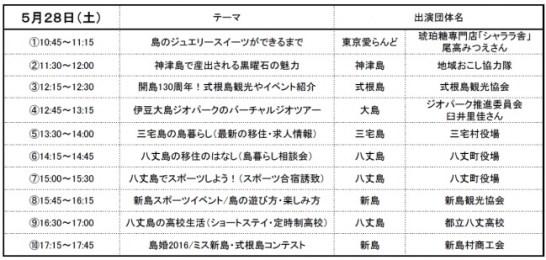 スケジュール 5月28日 - 東京愛らんど「島じまん2016」
