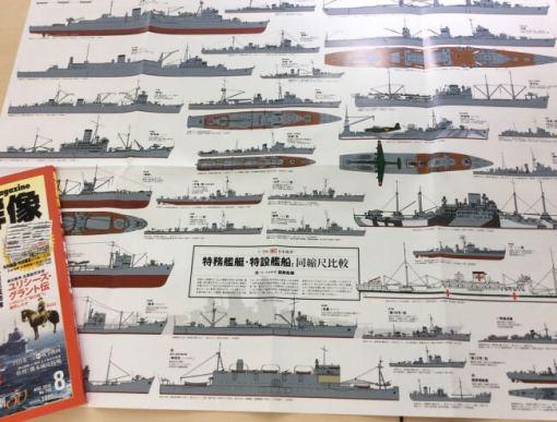 ▲日本海軍の「縁の下の力持ち」がズラリと並んだ1/700同縮尺比較特大ポスター(表面)