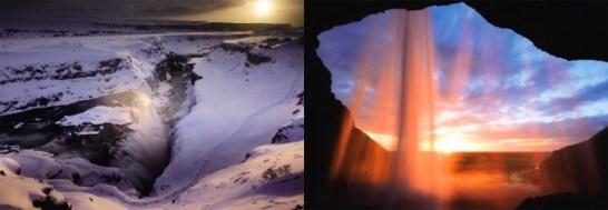 【左】グルフォス(アイスランド)/【右】セリャランスフォス(アイスランド)