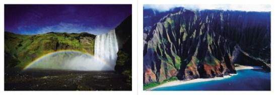 【左】スコーガフォス(アイスランド)/【右】ナパリコースト(ハワイ)