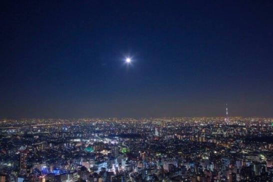 展望台からの夜景(※スーパームーンではありません。)