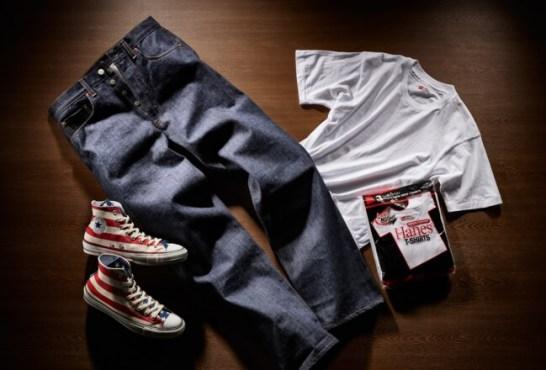 左から、コンバース オールスター 100スターズ&バーズ HI、リーバイス VINTAGE CLOTHING 1976 501、Hanes 3P T-SHIRT 赤パック クルーネック