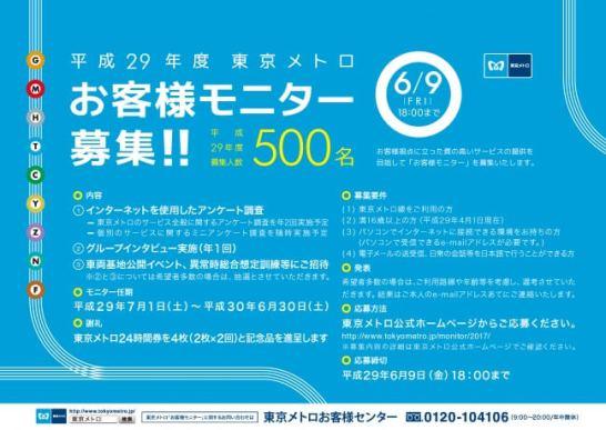 東京メトロお客様モニター - 募集告知中吊りポスター