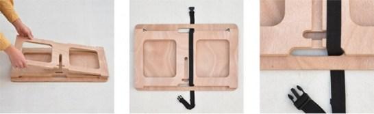 板を重ねてロックベルトを通します。※脚板のスリットに重ならないように左右どちらかに寄せます。