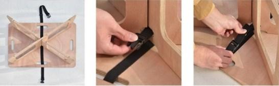 天板にロックベルトを通し、脚板の間を通してバックルで留め、ベルトをしっかり締めて完成です。