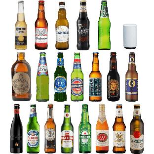 世界20か国 ビールブランド飲み比べ・栓抜きセット[330ml×15本、341ml×1本、355ml×4本 ]