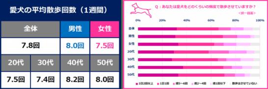 """愛犬の""""散歩""""頻度=平均週7.8回!"""