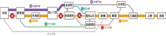 銀座線一部運休区間と迂回経路