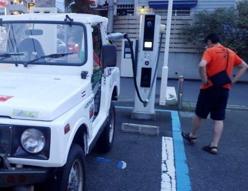 2020年7月12日18時58分クロカン四駆の電気自動車が、日本で初めてチャデモ急速充電器からの充電に成功した瞬間です。