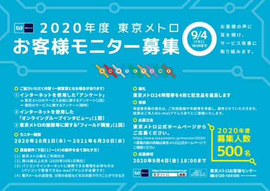 『2020年度 東京メトロお客様モニター』500名募集