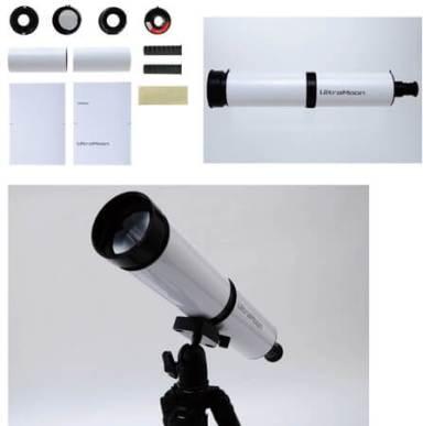 ▲組み立て簡単、手軽に本格的な天体観測がはじめられる。左上:キット内容、右上:完成イメージ、下:一般的なカメラ用三脚に付けたところ。※三脚は別売りです