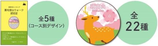 認定証(左)と缶バッジ(右、デザインはイメージ)