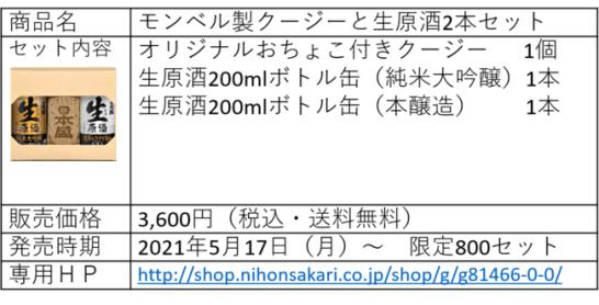 日本盛×mont-bellオリジナルおちょこ付きクージーと生原酒ボトル缶セット