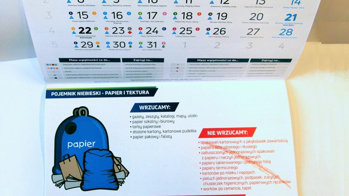 Secjalny kalendarz przypomni o segregacji odpadów
