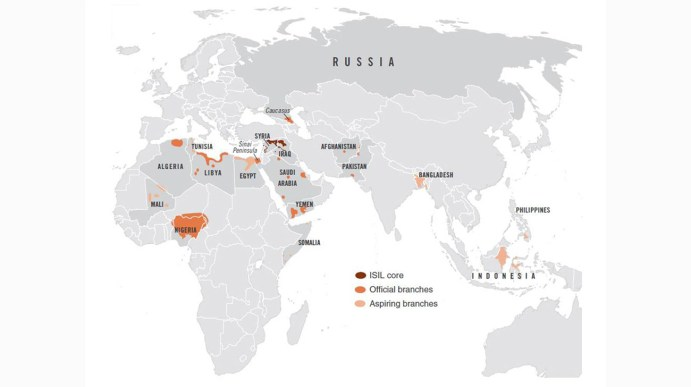A map from the National Counterterrorism Center shows the worldwide expansion of IS as of August 2016.Apart from being fully operational, middle east-based Islamist terrorist outfit Islamic State has grown its root into Bangladesh, reports US news channel NBC.