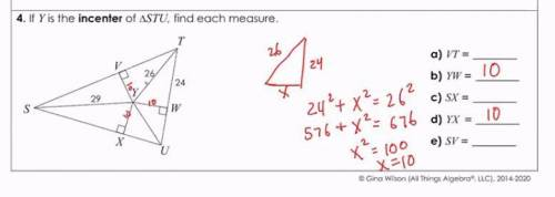 If y is the incenter of triangle stu, find each measure