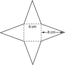 Each triangle in the net below has a base of 6 centimeters