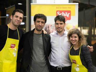 """מימין: עדי טייכר, רנאל ליימן מנכ""""ל ליב, שף ערן זינו ואלעד זוהר. צילום: אלישע גדז'"""
