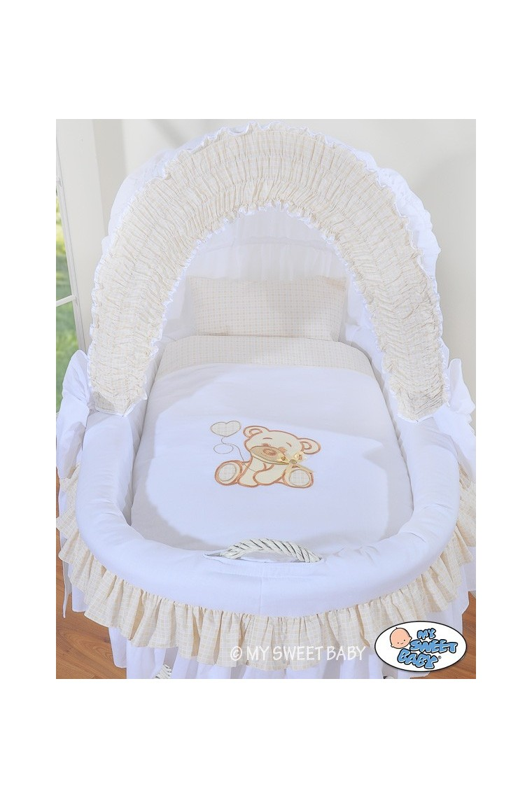 Wicker crib cradle moses basket Teddy  White
