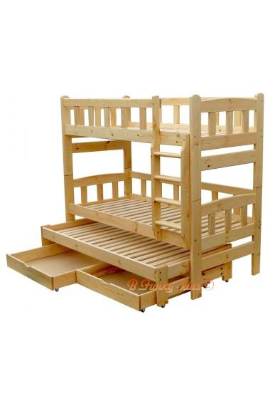 lit superpose avec lit gigogne nicolas 3 avec tiroirs 180x90 cm