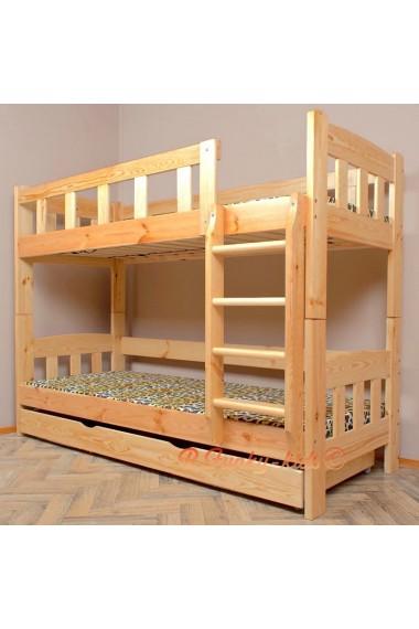 lit superpose en bois massif inez avec tiroir 200x90 cm