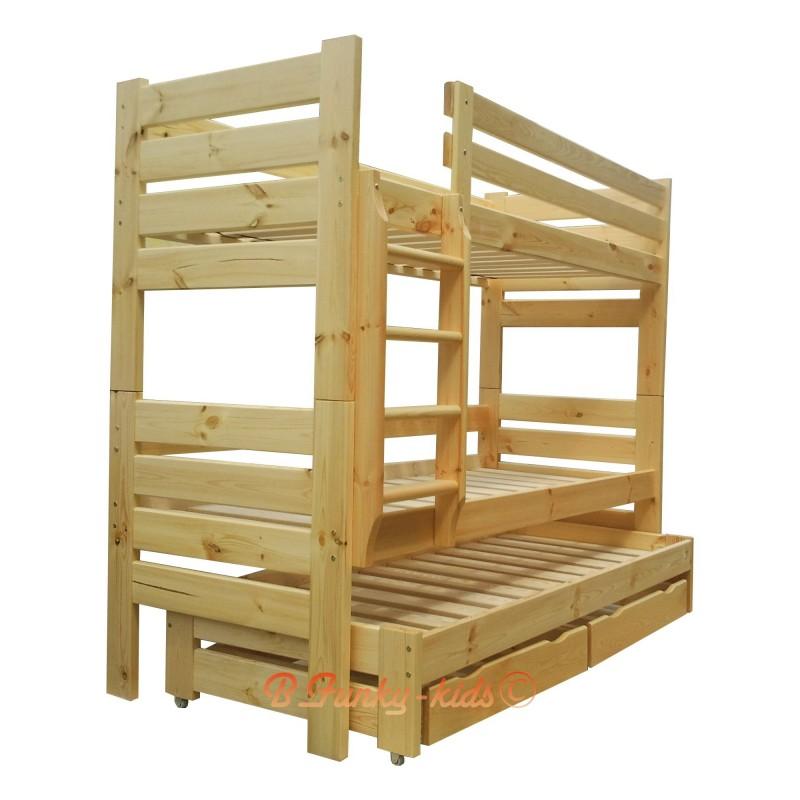 Letto a castello con estraibile in legno massello Gustavo