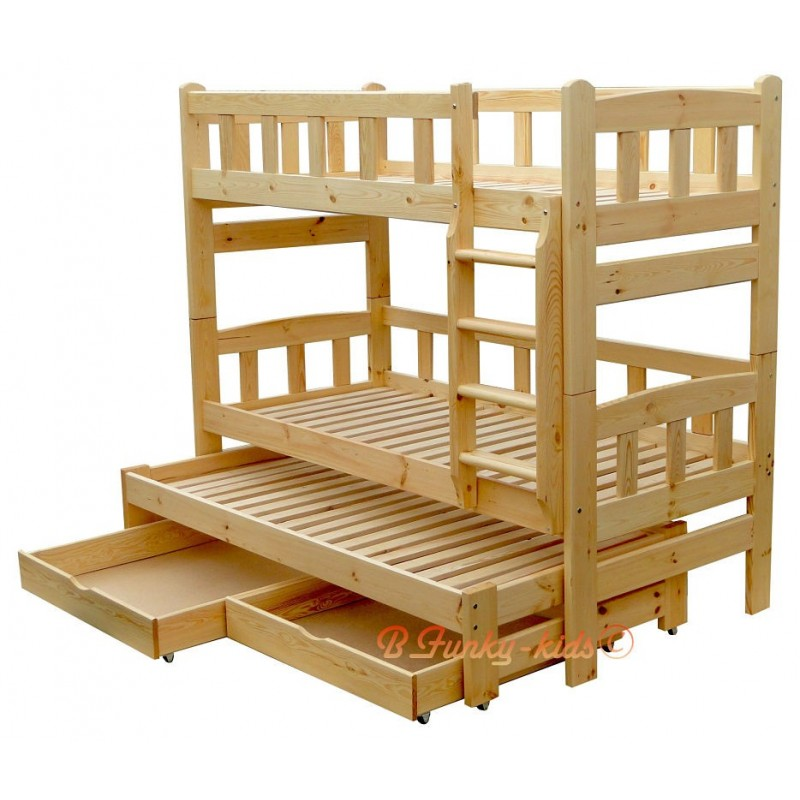 Letto a castello con estraibile in legno massello Nicolas