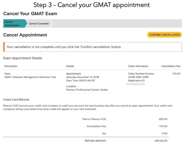 Cancel GMAT Step 3
