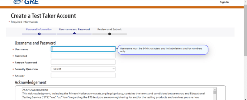 login credentials for ets account