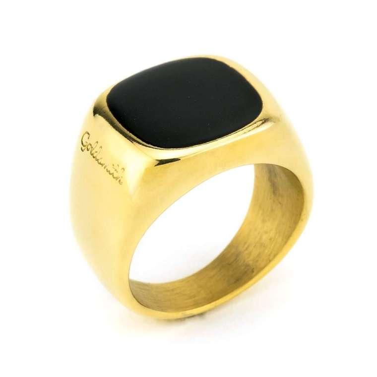 Δαχτυλίδι σφραγίδα χρυσό με μαύρο σμάλτο