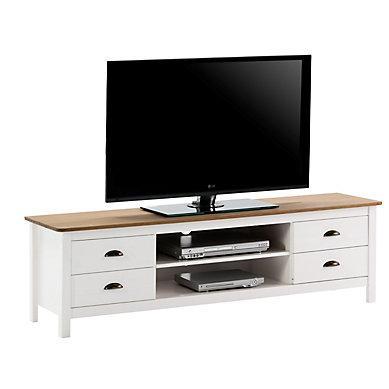 Meuble tv bois et blanc
