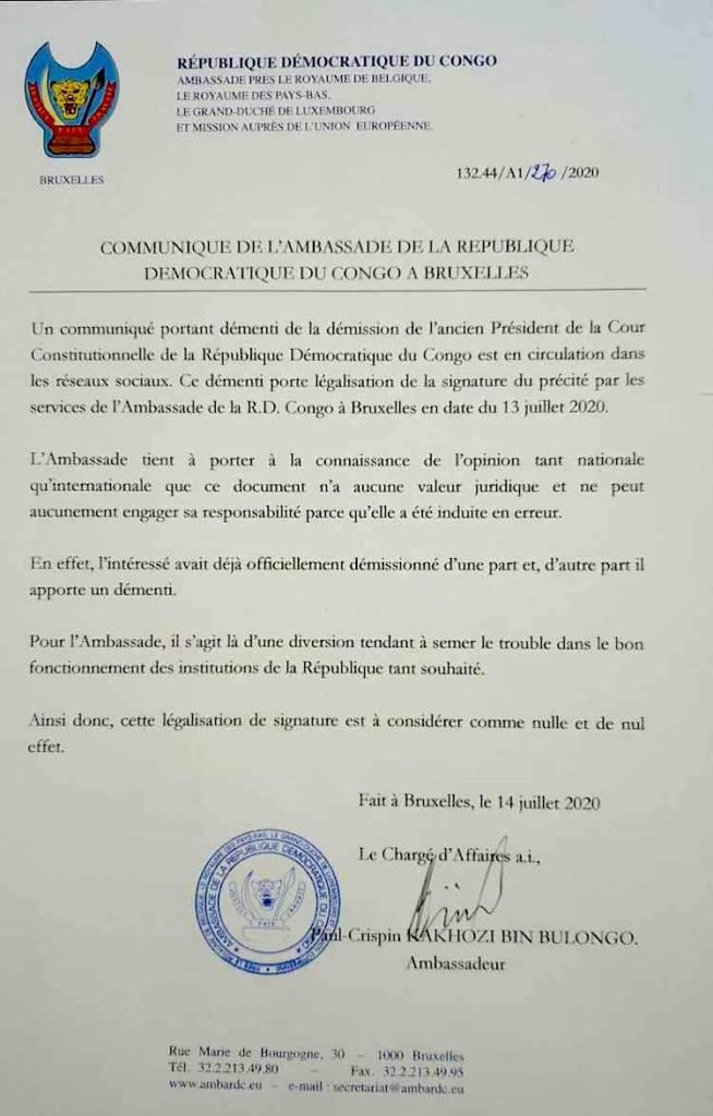 Cour Constitutionnelle : L'ambassade retire la légalisation du démenti de Benoit Lwamba 1