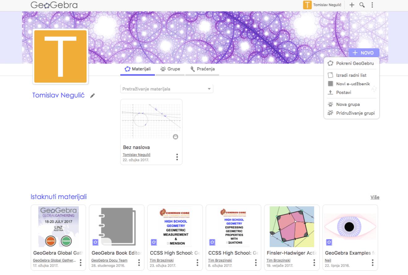 Korisnički profil GeoGebre