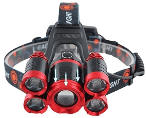 Φακός Κεφαλής Επαναφορτιζόμενος 5 LED T6 ZOOM