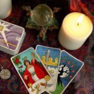 candles and tarot cards