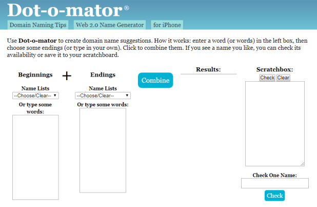 4- موقع  Dot-O-Mator Name Generator