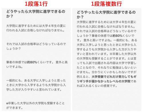 スマホで1段落1行にしたときと1段落複数行にしたときの比較