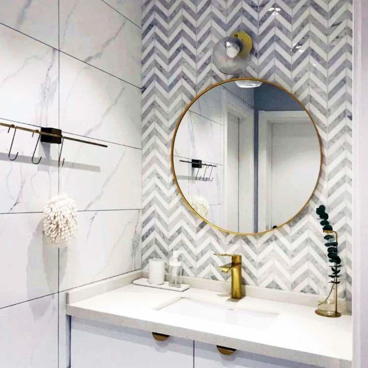chevron carrara white marble stone mosaic tile bath wall and floor kitchen backsplash