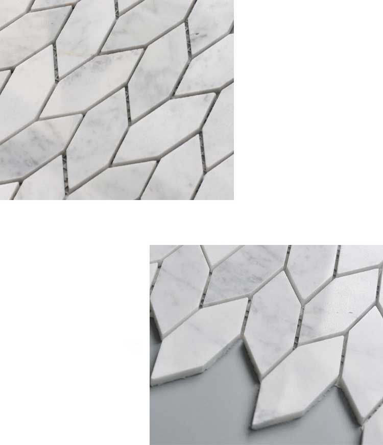 leaf pattern carrara white marble stone bath wall and floor mosaic tile kitchen backsplash