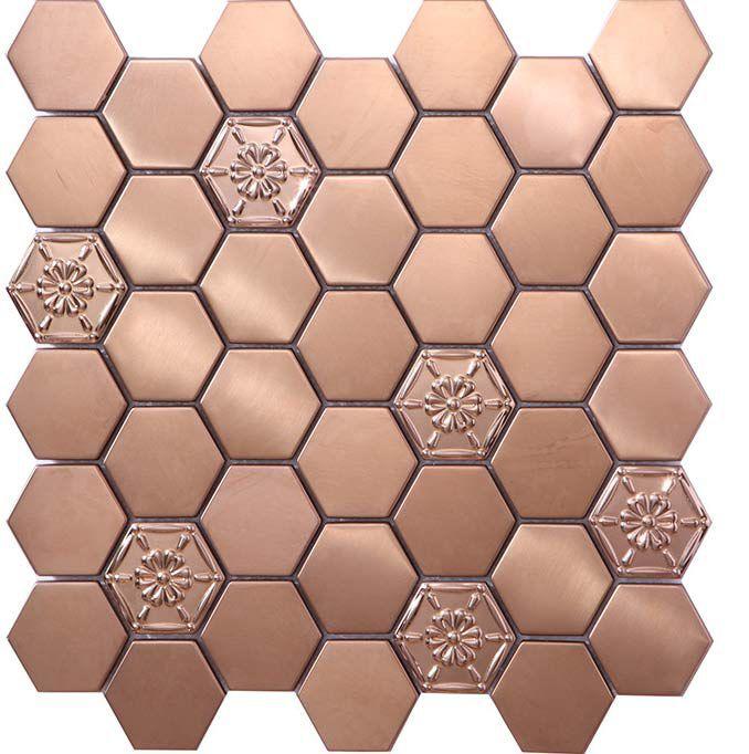 stunning feature accent wall backsplash 3d stainless steel mosaic tile hexagon rose gold flower pattern
