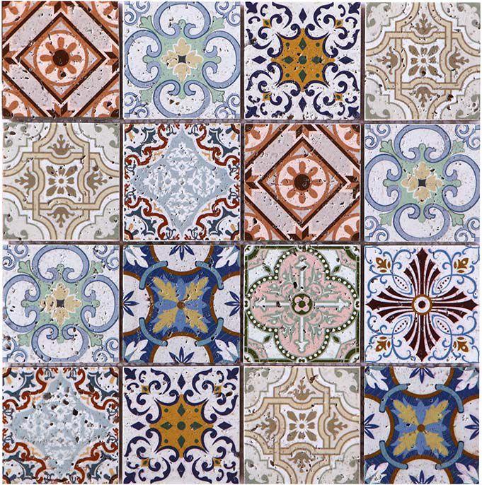 square moroccan art printed travertine stone mosaic tile
