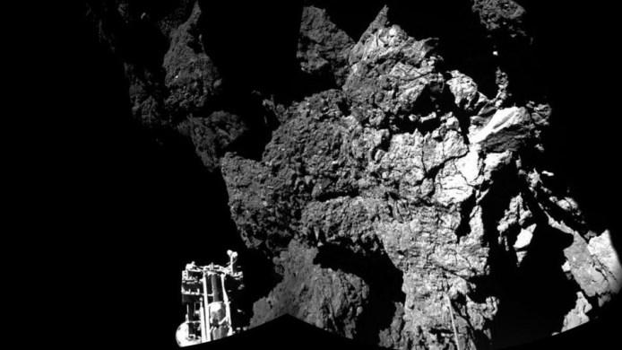 The surface of the 67P-Churyumov-Gerasimenko comet as seen from the Philae lander on Nov. 12, 2014.