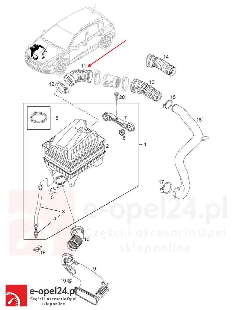 OE przewód filtra powierza Opel Opel Astra G H / Zafira A