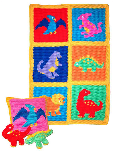Dinosaurs Afghan Pillow  Toys